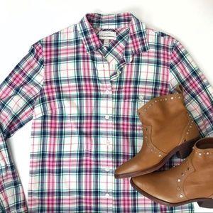 J CREW Strawberry Mint Button Down Boy Shirt Top 0
